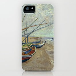 Fishing boats on the beach by Vincent Van Gogh iPhone Case