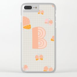 Letter B - Butterfly - Monogram Clear iPhone Case