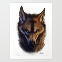bad wolf Art Prints featuring Bad Wolf by Melantic Art & Illustration