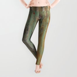 corrugated rusty metal fence paint texture Leggings