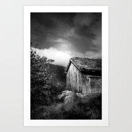 Old Mountain Cabin - Black & White Art Print