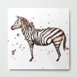 Zebra Watercolor Metal Print