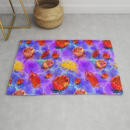 Colourful Australian Native Floral Print Rug
