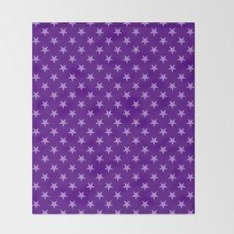 Lavender Violet on Indigo Violet Stars Throw Blanket