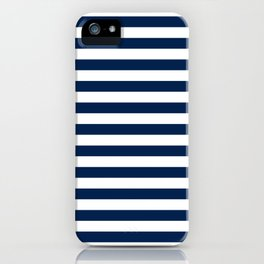 Slate blue and White Thin Stripes - Navy Nautical Pattern iPhone Case