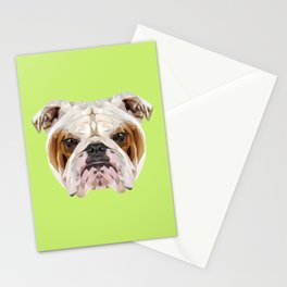 English Bulldog // Green Stationery Cards