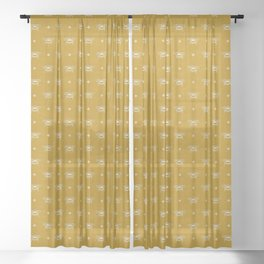 Bee Stamped Motif on Mustard Gold Sheer Curtain