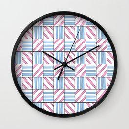 symetric tartan and gingham 6 -vichy, gingham,strip,square,geometric, sober,tartan Wall Clock