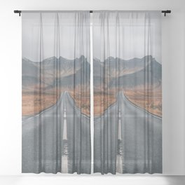 HIGH WAY - ROAD - LANDSCAPE - PHOTOGRAPHY - NATURE - ADVENTURE - SKY Sheer Curtain