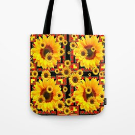 KANSAS WESTERN BLACK & RED YELLOW SUNFLOWERS Tote Bag