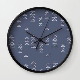 Modern Minimalist Triangle Pattern in Slate Blue Wall Clock