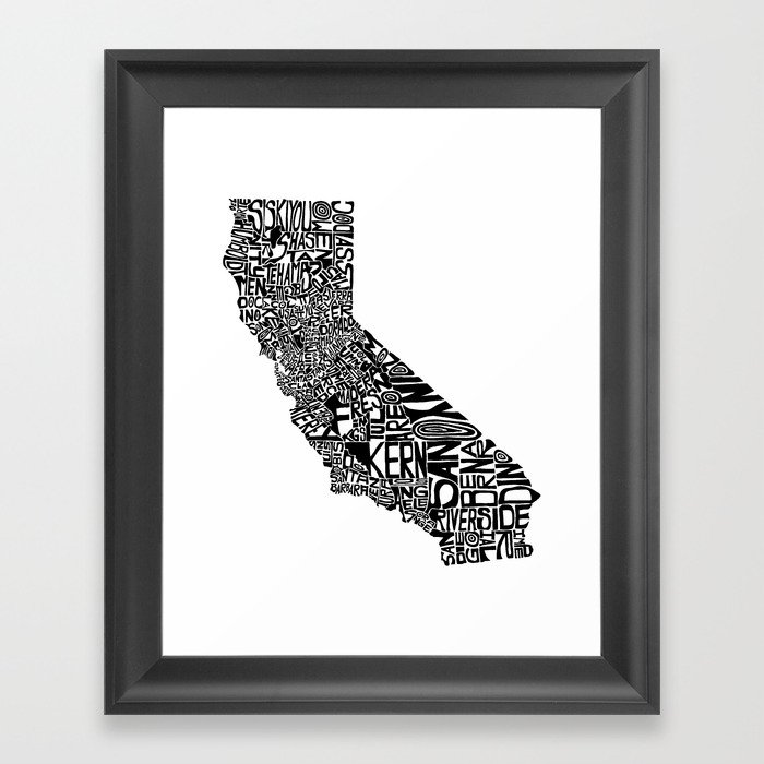 Typographic California Framed Art Print