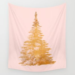 Christmas Tree Gold Wall Tapestry