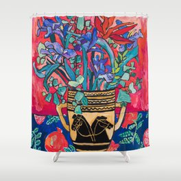 Persephone Painting - Bouquet of Iris and Strelitzia Flowers in Greek Horse Vase Against Coral Pink Shower Curtain