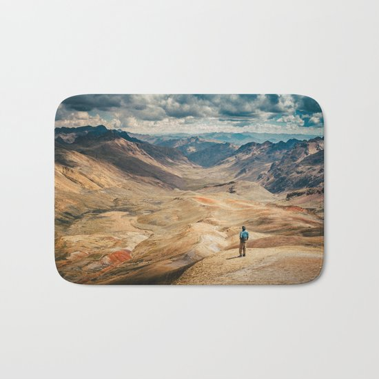 Man front of the mountain Bath Mat