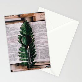 Vintage Book With Magnifying Glass Stationery Cards