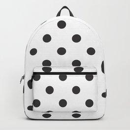 Extra Large Dark Grey on White Polka Dots Backpack