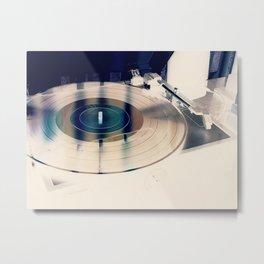Record On Turntable Metal Print