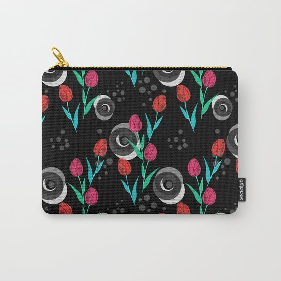 Abstract floral pattern tulips. Black background . Carry-All Pouch