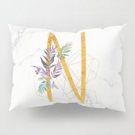 Modern glamorous personalized gold initial letter N, Custom initial name monogram gold alphabet prin Pillow Sham