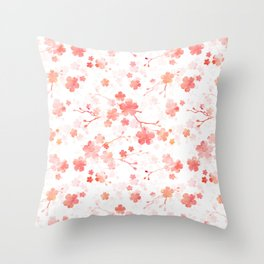 Peach pink Chinese cherry blossom on white Throw Pillow