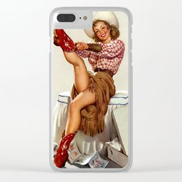 Pin Up Girl Cowgirl Trying on Cowboy Boots Clear iPhone Case