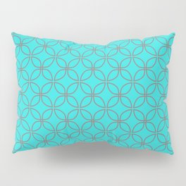 GUISE beautiful peacock blue with silver grey interlocking circles Pillow Sham