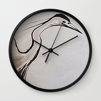 crane Wall Clocks featuring Japanese Crane by Ming Myaskovsky