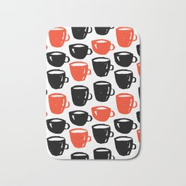 Quirky cool coffee cups pattern Bath Mat