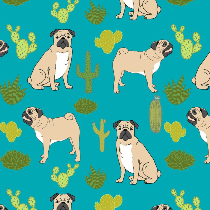 Pug Cactus succulent southwest cute children fur baby pug dog art pet portrait funny animals Leggings