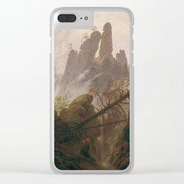Caspar David Friedrich - Rocky Lanscape in the Elbe Sandstone Mountains Clear iPhone Case