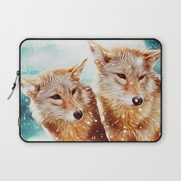 Lovely Wolf Couple Under the Snow Laptop Sleeve