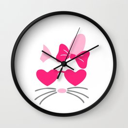 Girl Easter Bunny Wearing Glasses Wall Clock