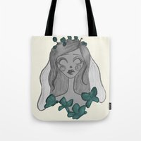 emily rickard Tote Bags featuring Emily  by Bittersweet