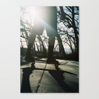 skateboard Canvas Prints featuring Skateboard by Wunderland Designs