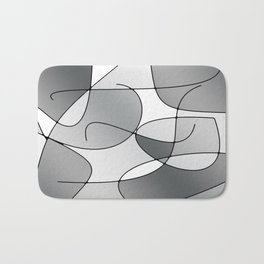 ABSTRACT CURVES #1 (Grays & White) Bath Mat