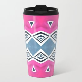 Geo Triangle Pink Navy 2 Travel Mug