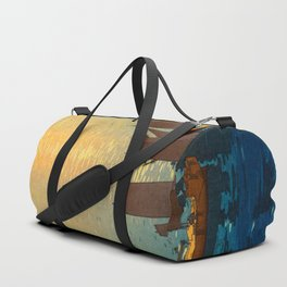 Hiroshi Yoshida Vintage Japanese Woodblock Art Ocean Sunset Sailboat Orange Blue Color Hues Duffle Bag