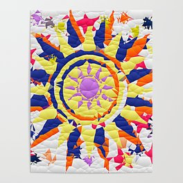 Colorful Quilted sun pattern Abstract Poster