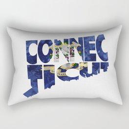 Connecticut Typographic Flag Map Art Rectangular Pillow