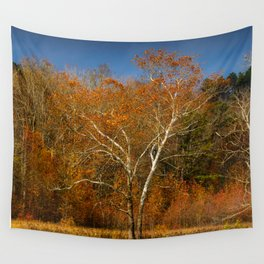White tree in the fall at Cades Cove, the Smokiew Wall Tapestry