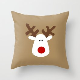 Christmas Reindeer-Brown Throw Pillow