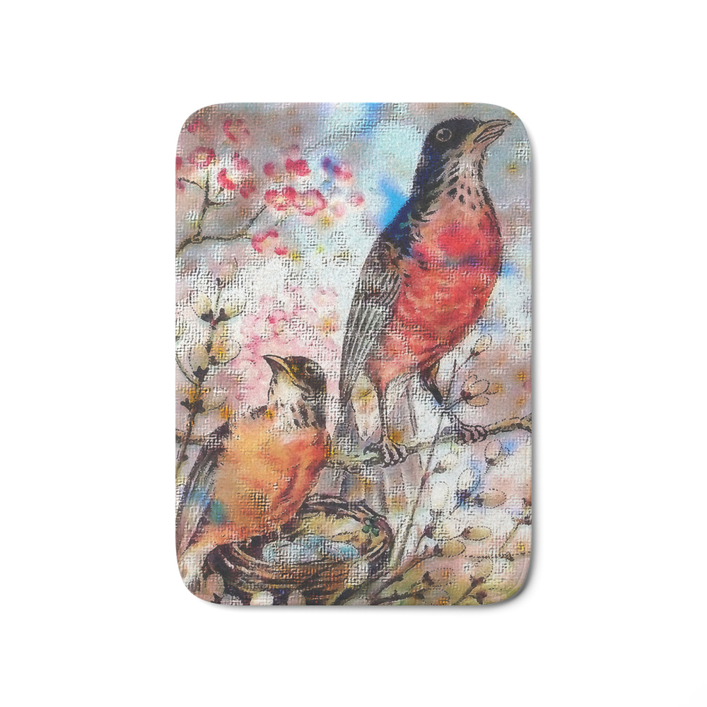 A Robin Redbreast Morning Bath Mat by tammera (BMT9496762) photo
