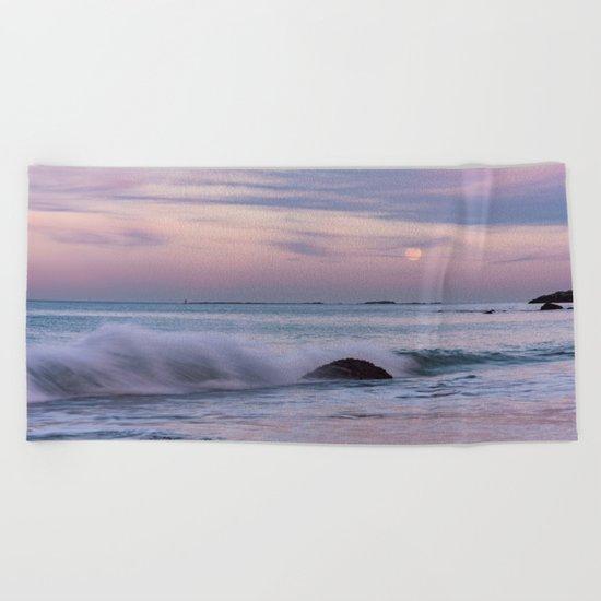 Pastel Ocean Moonrise Beach Towel