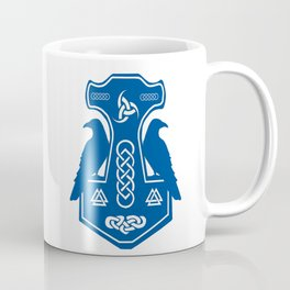 Blue Thor's Hammer With Ravens Coffee Mug