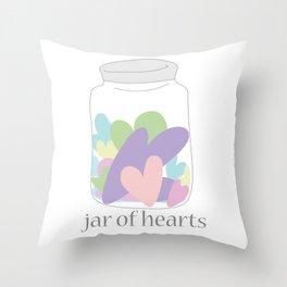 Jar of Hearts Throw Pillow