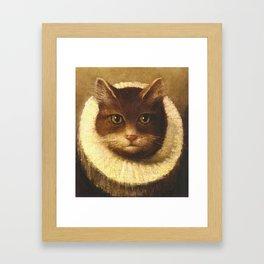 Cat In A Ruff Cute Victorian Art Framed Art Print