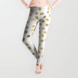 Glam Gold and White Confetti Pattern Leggings