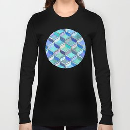 Patchwork Ribbon Ogee Pattern in Blues & Greens Long Sleeve T-shirt