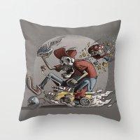mario kart Throw Pillows featuring Death Kart by Calakka